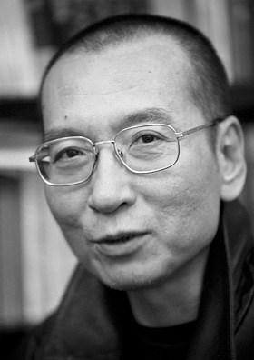 Portrait Liu Xiaobo gesicht in schwatz weiß