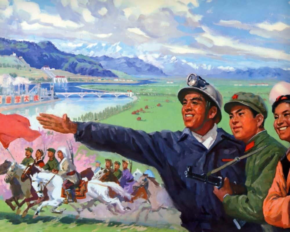 Chinese-engineer-and-military-in-Tibet-propaganda-poster